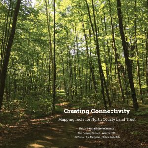 "Cover of the Strategic Conservation Plan showing a trail, tall green trees, and the title ""Creating Connectivity""."