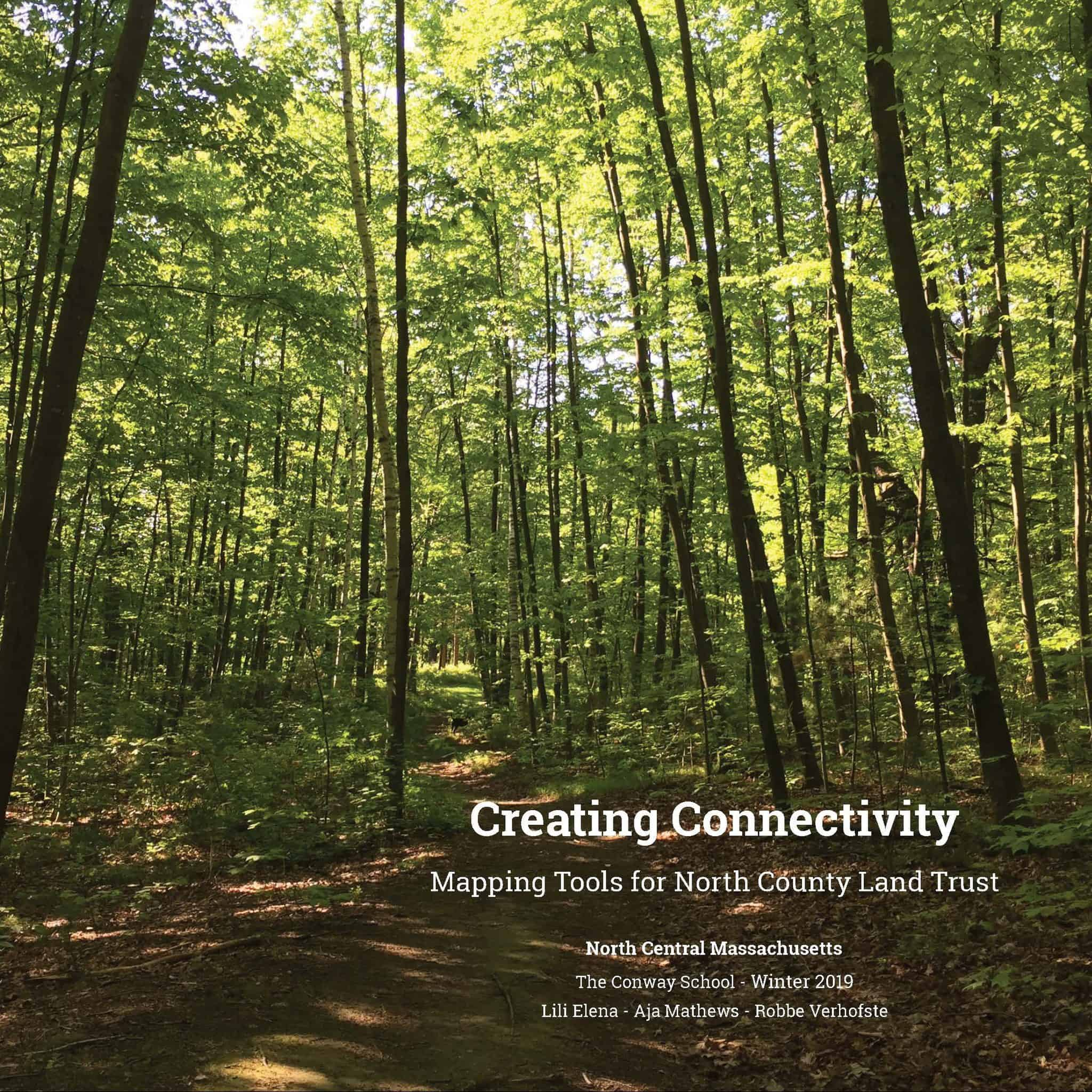 """Cover of the Strategic Conservation Plan showing a trail, tall green trees, and the title """"Creating Connectivity""""."""